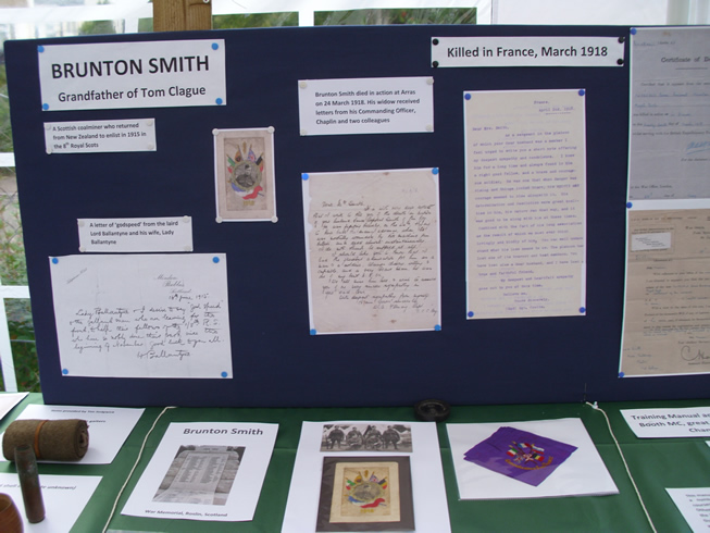Photograph of a stand at the Newton St Cyres WWI exhibition