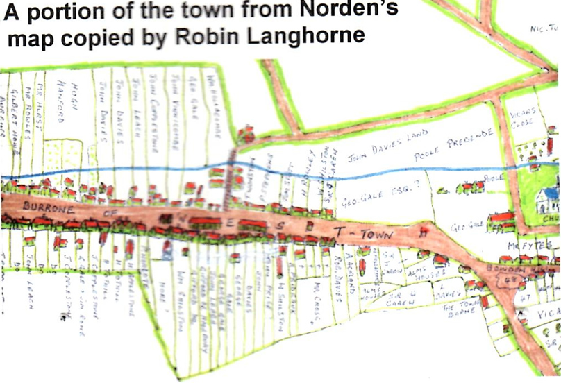 A portion of the town from Norden's map copied by Robin Langhorne